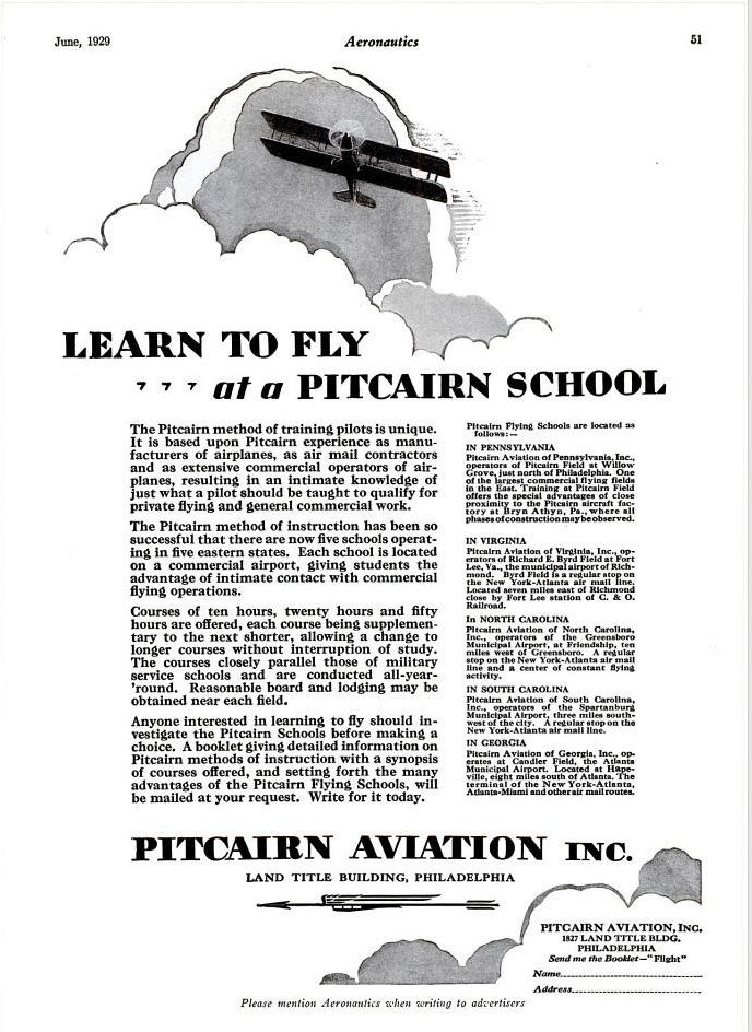 Pitcairn Field Advertisement, Aeronautics Magazine, June, 1929 (Source: Web)